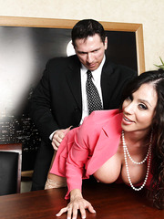 Two naughty and sexy office ladies Ariella Ferrera and Nikki Sexx fucked by one cock