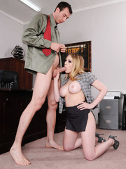 Busty Kagney Linn Karter can not resist and starts fucking right in the office