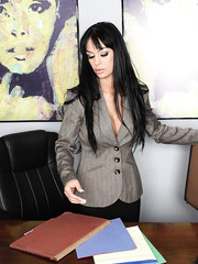 Seductive and provocative brunette bombshell Angelina Valentine becomes wild at work