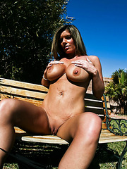 Wild milf Kristal Summers demonstrates her huge breast and shaved pussy