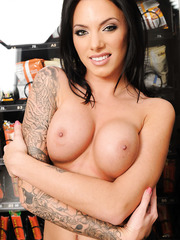 Gorgeous brunette lady with sexy tattoos and hot big tits - Juelz Ventura