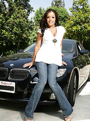 Perfect milf babe Francesca Le enjoys washing her car in sexy fishnet stockings