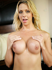 Sexy babe Brianna Beach tastes big cock with her gentle mouth and super gentle shaved pussy