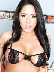 Gorgeous brunette milf Jenaveve Jolie strips in incredibly sexy lingerie at her birthday