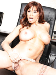 Mature temptress Devon Michaels with huge tits knows how to strip in front of the camera