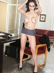 Office lady in hot glasses Yurizan Beltran shows off her great big tits and sexy pussy