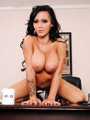 Mesmerizing brunette Jenna Presley spreads her shaved pussy and plays with big tits