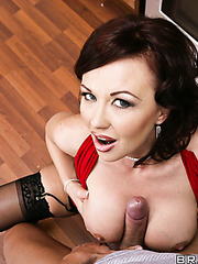 Unique brunette milf with huge melons Felony Foreplay cooked a special cake for her lover