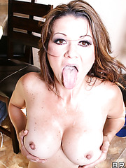 Hot and busty milf Raquel Devine prepared something sweet for her neighbourhood lover