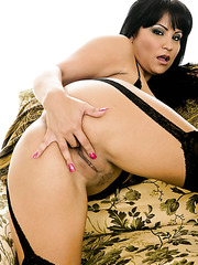 Irresistable brunette milf Sophia Lomeli shows her alluring pussy in sexy doggystyle position