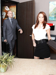 Superb office lady with hot big tits and trimmed pussy Monique Alexander facialized sweet