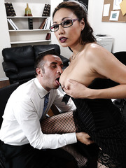 Busty Asian office lady Miko Lee facialized hard by after hot vaginal adventure