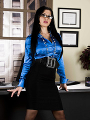 Dangerously fascinating brunette milf with huge boobs Rebeca Linares in hot stockings