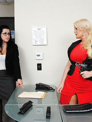 Two office roses with big tits Julie Cash and Lacie James enjoy fucking at the workplace
