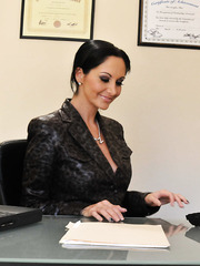 Horny brunette secretary Ava Addams gets a strong dick in the shaved hole