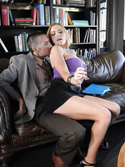 Passionate blonde lady Krissy Lynn gives an amazing and hot blowjob