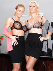 Horny lesbian angels Lexi Swallow and Nicole Aniston shows their bodies