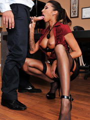 Crazy brunette whore Kayla Carrera gets a sperm on the sweet lips