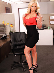 Hot blonde babe Phoenix Marie shows her pussy and masturbates