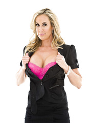 Busty blonde girlfriend Brandi Love undresses her sexy dress