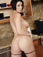 Sexy brunette babe Dylan Ryder shows her delicious tits and a nice ass