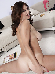 Dark-haired milf Lucky Benton plays with her big tits spreading sweet legs