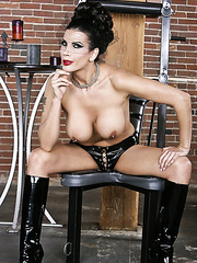 Hardcore brunette milf in hot latex uniform Shay Sights poses with passion