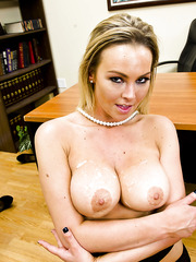 Blonde secretary Abbey Brooks was drinking tea when she got this huge and powerful cock
