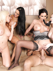 Four fantastic babes Alexis Ford, Angelina Valentine, Kagney Linn Karter and Phoenix Marie got big cock