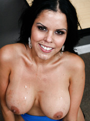 Black haired Diamond Kitty gets her big boobs covered with drops of cum