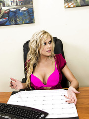 Provocative and really sexy blonde milf Darcy Tyler fucked at her workplace