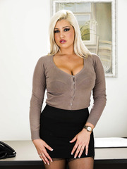 Super curvy blonde milf Dayna Vendetta surprises us with her round melons
