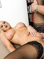 Amazing blonde babe Dayna Vendetta takes cum on her huge melons after hot titjob