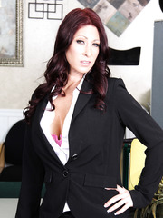 Dark haired mature business woman Tiffany Mynx enjoys to work with naked tits and holes