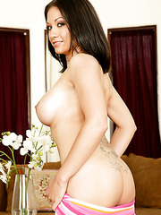 Dark haired milf coquette Karrlie Dawn demonstrates great big tits and plump shaved pussy