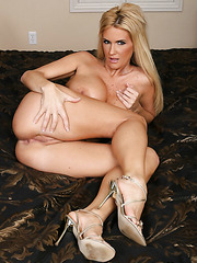 Blonde mommy with huge succulent boobs Rhyse Richards strips in her bedroom