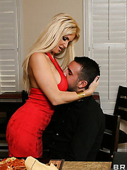 Seductive blonde milf with curvy lines Rhyse Richards fucks with her neighbourhood lover
