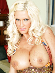 Blonde milf Rhyse Richards surprises with big tits and sweet shaved pussy
