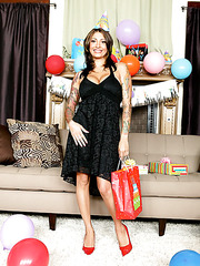 Fantastic milf with hot tattoos and big tits Ricki Raxxx poses in hot high heels
