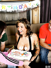 Marvellous milf with hot eyes and sexy tattoos Ricki Raxxx fucked at her birthday