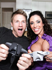 Dark-haired housewife Ariella Ferrera meets a big cock in her gentle mouth and trimmed pussy