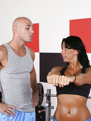 Mature with hot sport-style busty body Lezley Zen fucking with her trainer