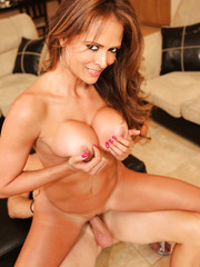 Crazy hot cougar with big round tits Monique Fuentes present young man a voluptuous orgasm