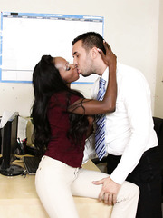 Inspiring interracial scene with buxom Ebony milf Diamond Jackson and white cock