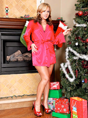 Hot and naughty milf Nikki Sexx remains alone at home and present us great striptease