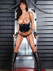 Sumptuous mature lady in hot latex uniform Gia Dimarco demonstrates her delicious body