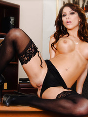 Tempting mature office sweetie Aleksa Nicole strips on the working table