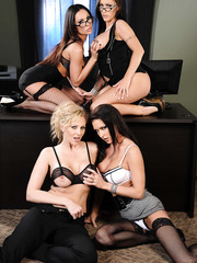 Four hot office milfs Jenna Presley, Jessica Jaymes, Julia Ann and Kirsten Price having sweet time