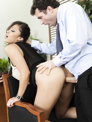 Asian mature office slut Mia Lelani fucked by her boss in the ass, pussy and mouth