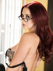 Redhead bombshell with perfect figure Jayden James takes off her amazing lingerie